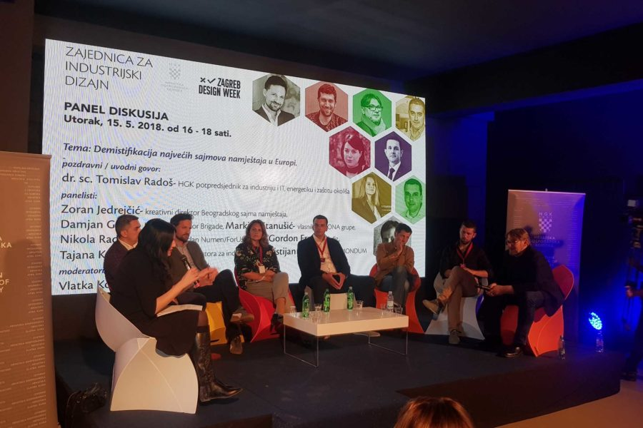 "Panel discussion entitled ""Demystifying Europe's biggest furniture fairs"" at Zagreb Design Week"